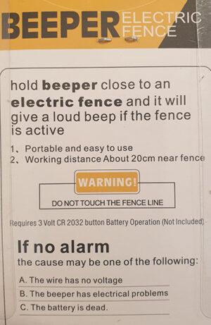 Beeper Fence Tester Back